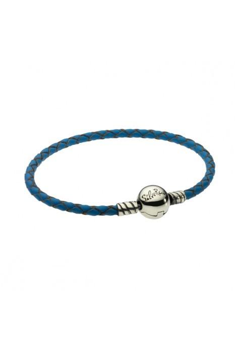 Pulseira SILVERADO Couro Azul 18 Cm