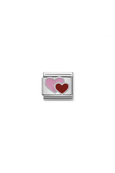 Charm Link NOMINATION Corações Rosa e Vermelho