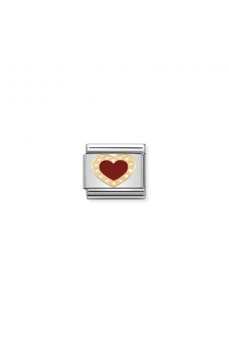 Charm Link NOMINATION Coração Vermelho com Pontos