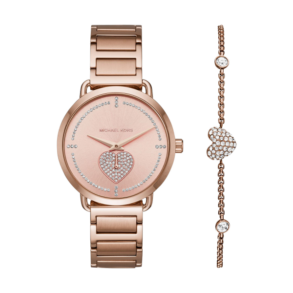 Gift Set MICHAEL KORS Portia Ouro Rosa com pulseira MK3827