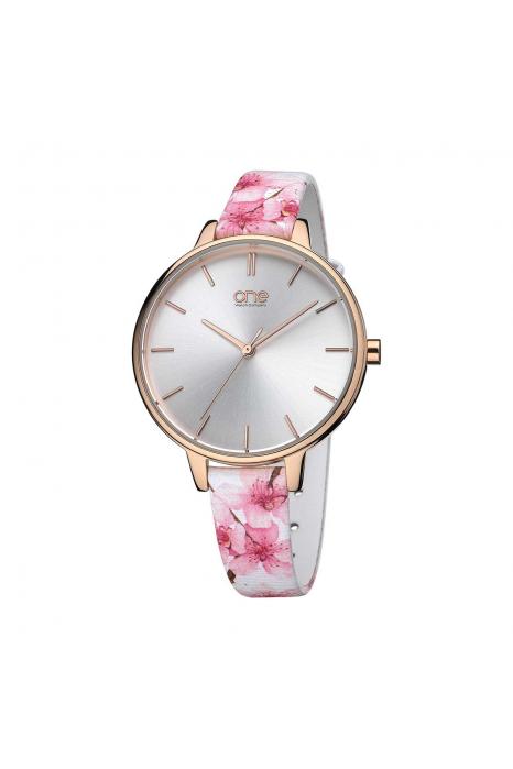 Relógio ONE  Blossom Branco e Rosa