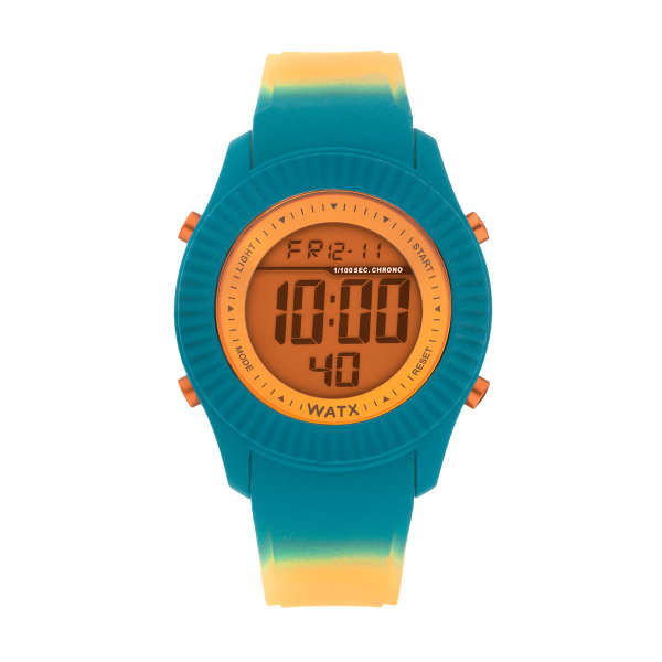 Bracelete WATX Silicone Smart Psicotropical Laranja e Azul COWA3098