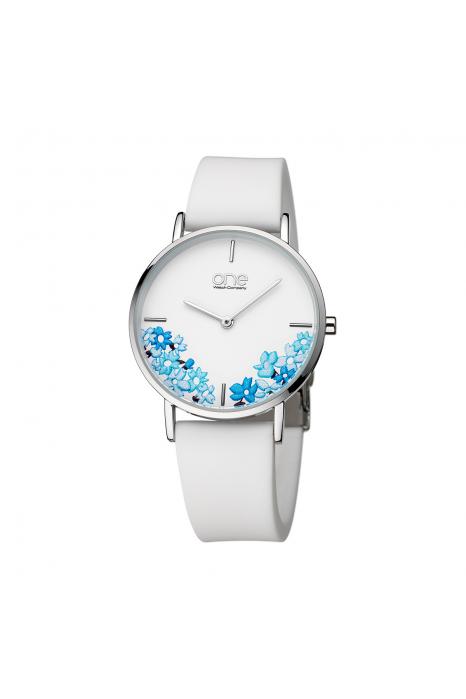 Relógio ONE COLORS Floral Branco