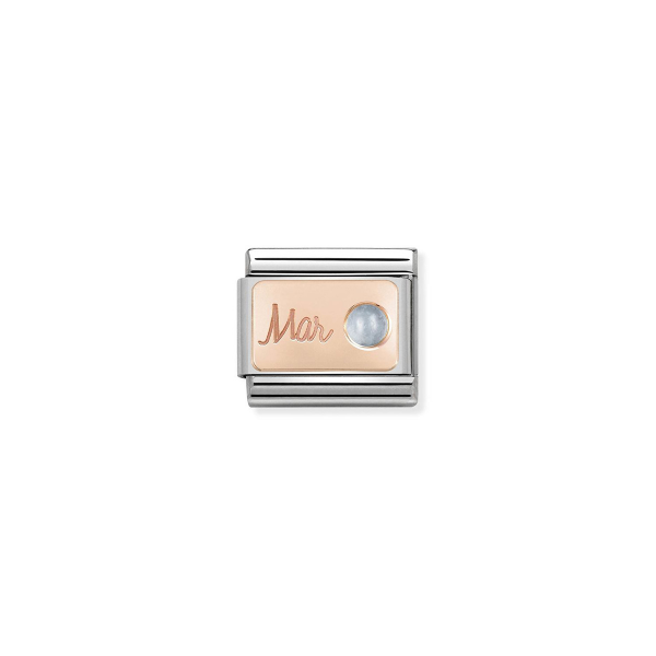 Charm Link NOMINATION Pedra mês Março (Aquamarine) 430508-03