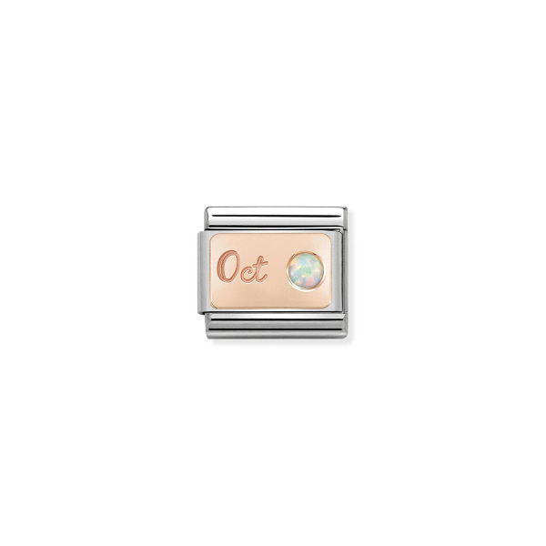 Charm Link NOMINATION Pedra mês Outubro (Opala branca) 430508-10