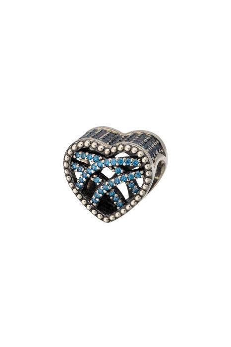 Conta SILVERADO Coração de cristal azul