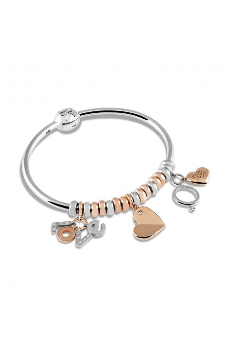 Charm BOW HAPPY Love Stories Heart Rose Gold