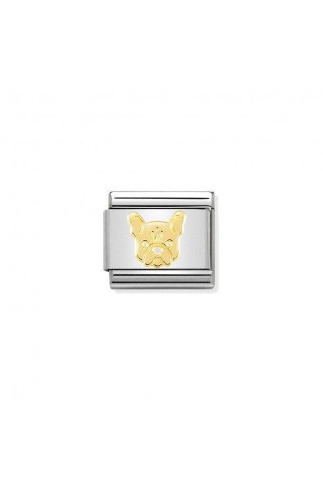 Charm Link NOMINATION, Ouro 18K, Bulldog francês