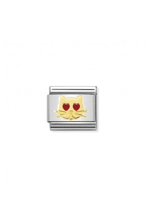 Charm Link NOMINATION, Ouro 18K, Gato apaixonado