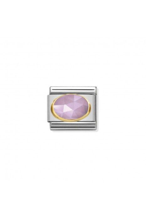 Charm Link NOMINATION, Ouro 18K, Pedra Jade lilás