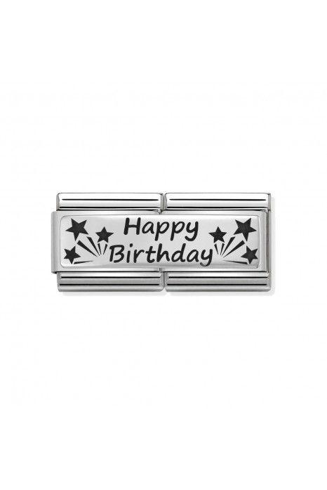 Charm Link Duplo NOMINATION, Prata 925, Feliz Aniversário