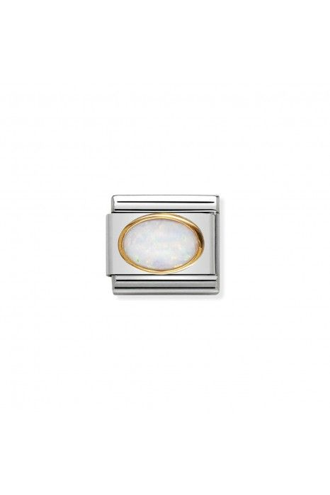Charm Link NOMINATION, Ouro 18K, Pedra oval opal