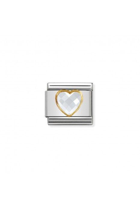 Charm Link NOMINATION, Ouro 18K, Pedra coração branco