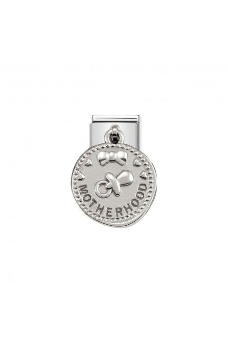 Charm Link NOMINATION, Prata 925, Medalha Wishes Maternidade