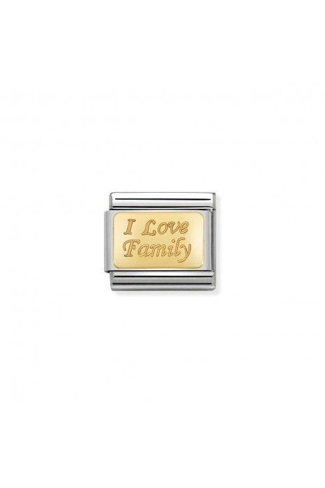Charm Link NOMINATION, Ouro 18K, Eu amo a minha Familia