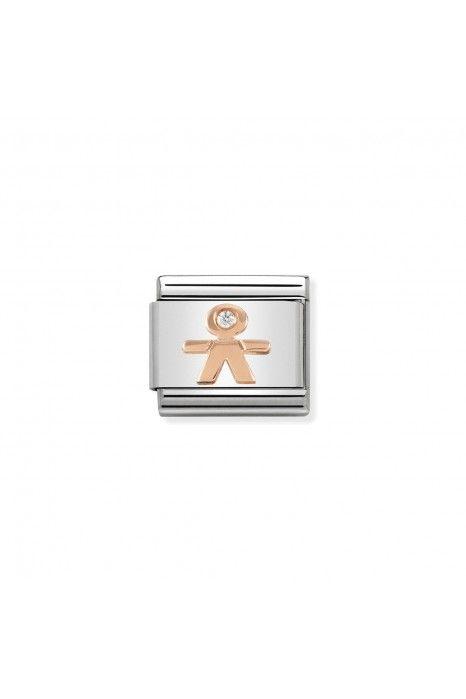 Charm Link NOMINATION, Ouro Rosa 9K, Menino c/ zircónia