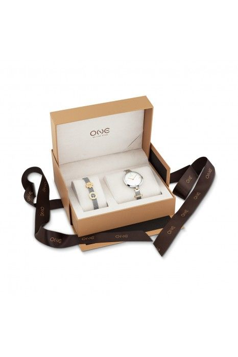 Relógio ONE Energy Plus Box Set Prateado (Pulseira 17 cm)