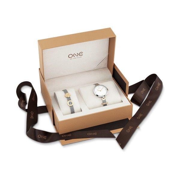 Relógio ONE Energy Plus Box Set Prateado (Pulseira 17 cm) OL8330WL92L