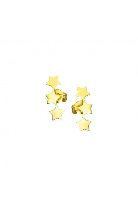 Brincos LE CARRÉ de ouro com 3 estrelas