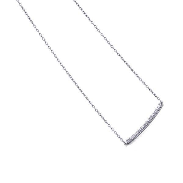 Colar LE CARRÉ ouro branco barra diamantes 0.06 Q. GD012OB.00