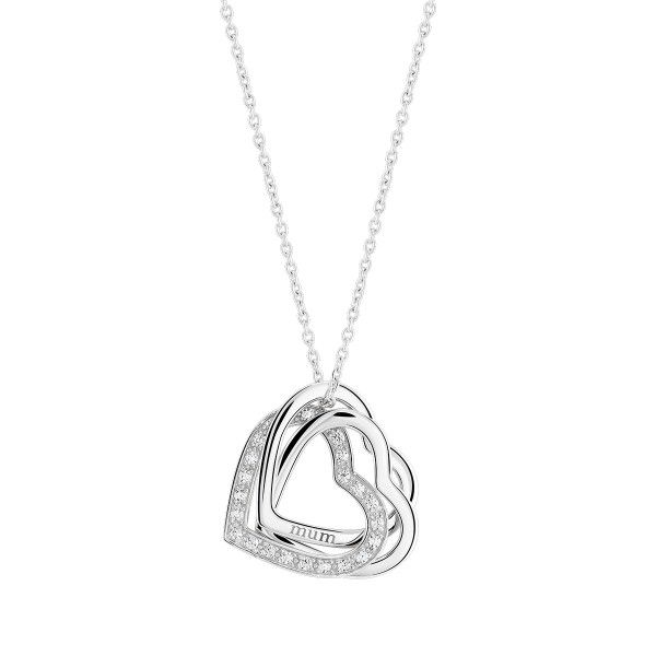 Colar Bow Happy Lover´s Heart Mother's Day Prateado BH.CL.1110.0094
