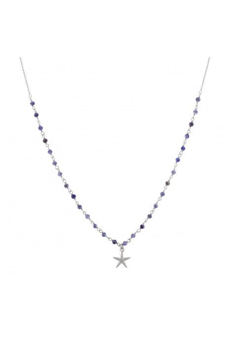 COLAR UNIKE FUN S20 BEADS BLUE SILVER STAR