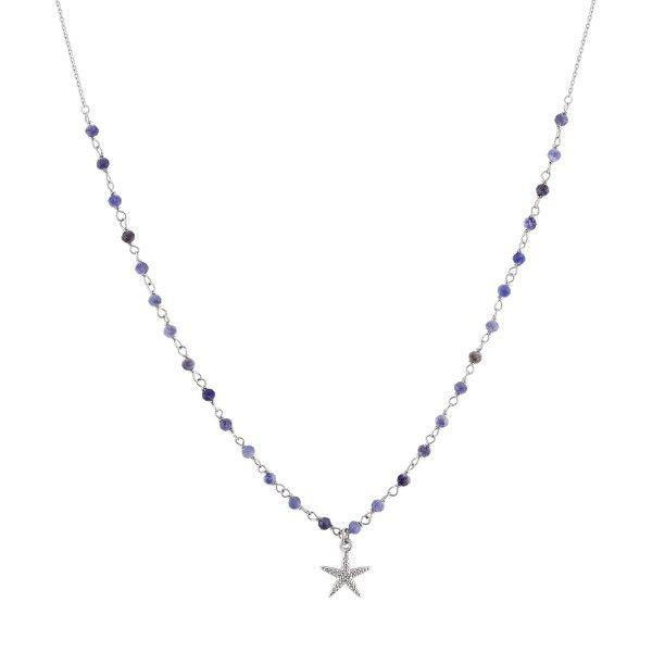 COLAR UNIKE FUN S20 BEADS BLUE SILVER STAR UK.CL.0117.0116