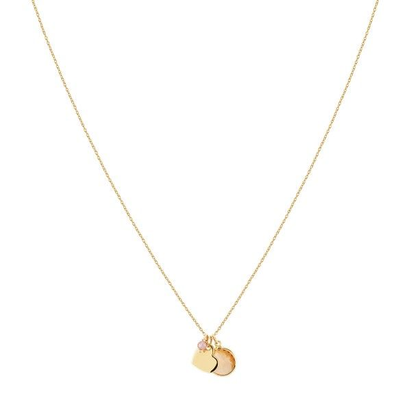 COLAR UNIKE FUN S20 PINK STONE GOLD HEART UK.CL.0117.0126