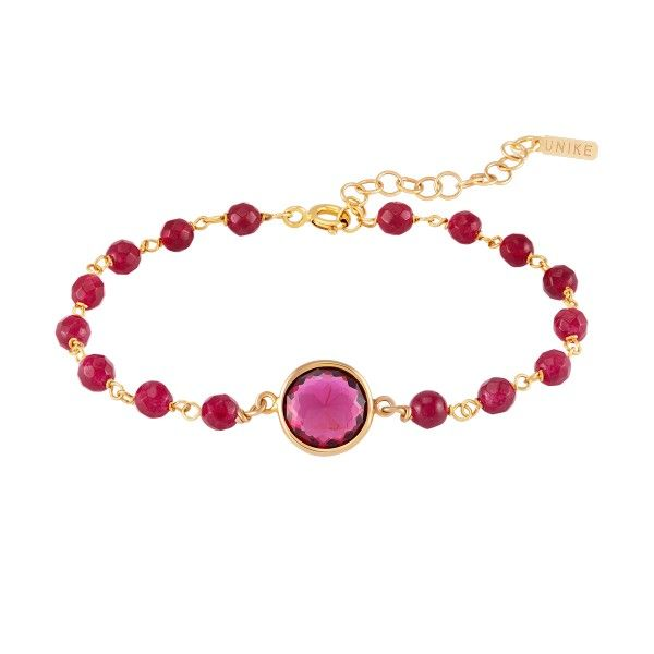 PULSEIRA UNIKE FUN W20 BEADS & RED STONE GOLD UK.PU.0117.0120