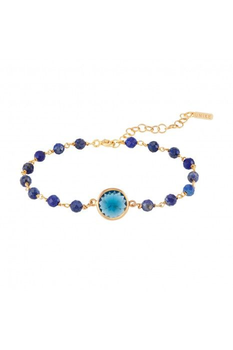 PULSEIRA UNIKE FUN W20 BEADS & BLUE STONE GOLD