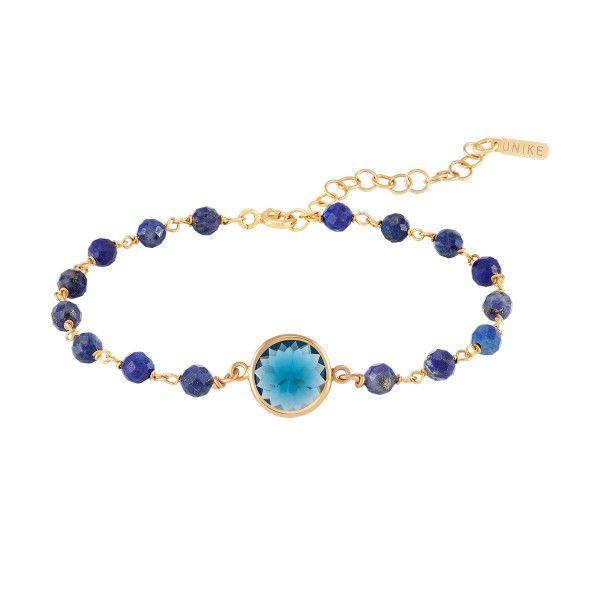 PULSEIRA UNIKE FUN W20 BEADS & BLUE STONE GOLD UK.PU.0117.0119