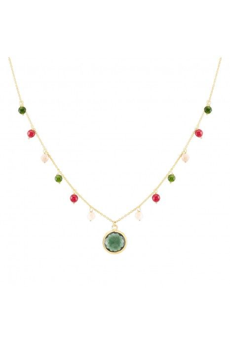 COLAR UNIKE FUN W20 BEADS & GREEN STONE GOLD