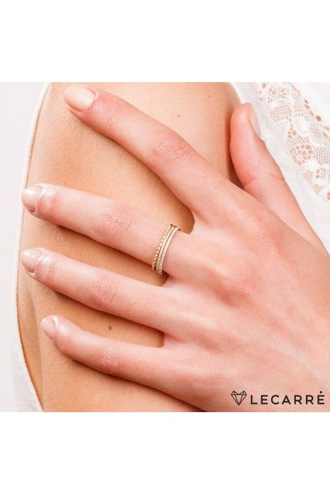 Aliança LECARRÉ ouro 18k diamante 0,04 Q.HSI