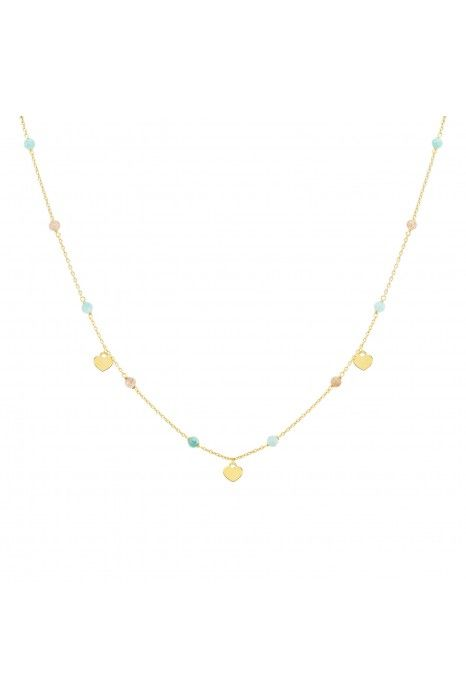 COLAR UNIKE FUN S21 BEADS HEART MEDALS GOLD