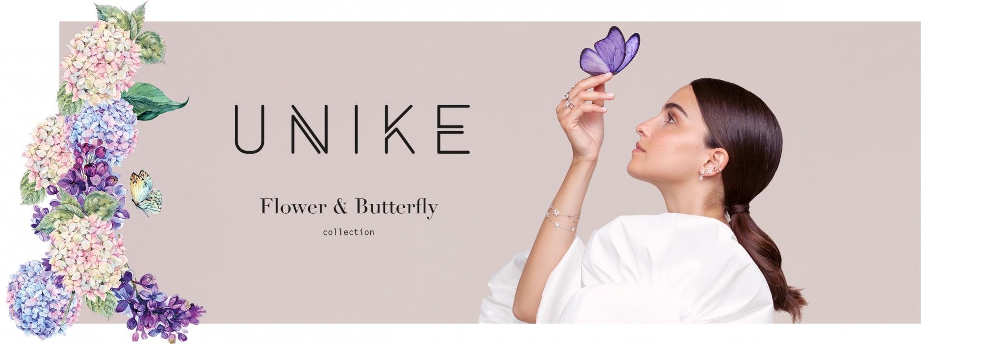 Coleção de joias UNIKE Flower e Butterfly. Joias em prata de lei.