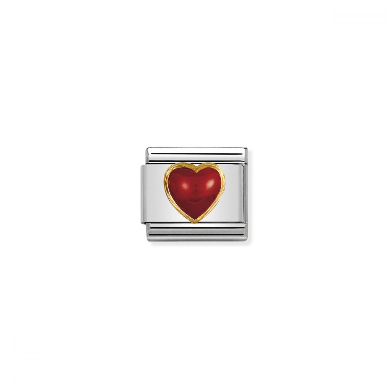 Charm Link NOMINATION Coração Pedra Vermelha