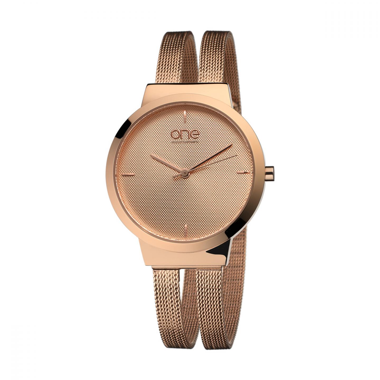 Relógio ONE Dual Ouro Rosa