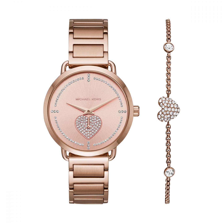 Gift Set MICHAEL KORS Portia Ouro Rosa com pulseira