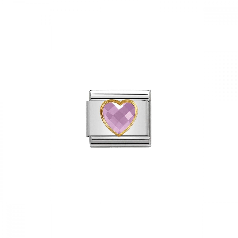Charm Link NOMINATION Coração Cor de Rosa