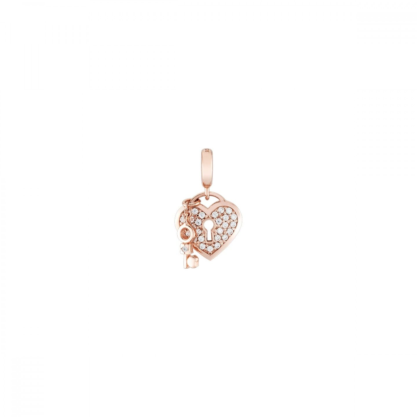 Charm BOW HAPPY Love Stories Lock & Key Rose Gold