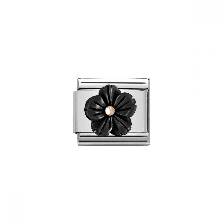 Charm Link NOMINATION, Ouro Rosa 9K, Pedra em forma de flor
