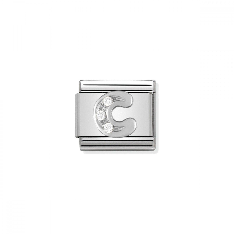Charm Link NOMINATION, Prata 925, Letra C c/ zircónias