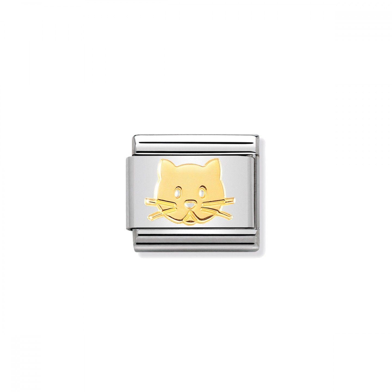 Charm Link NOMINATION, Ouro 18K, Gato bigodes
