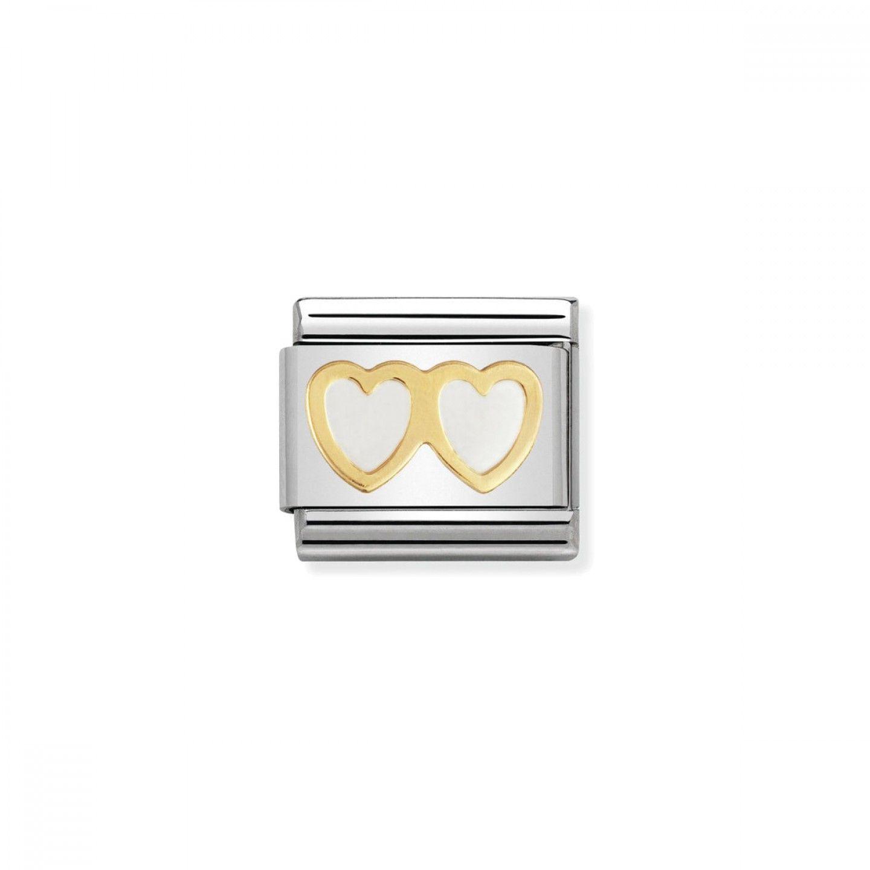 Charm Link NOMINATION, Ouro 18K, Duplo coração branco
