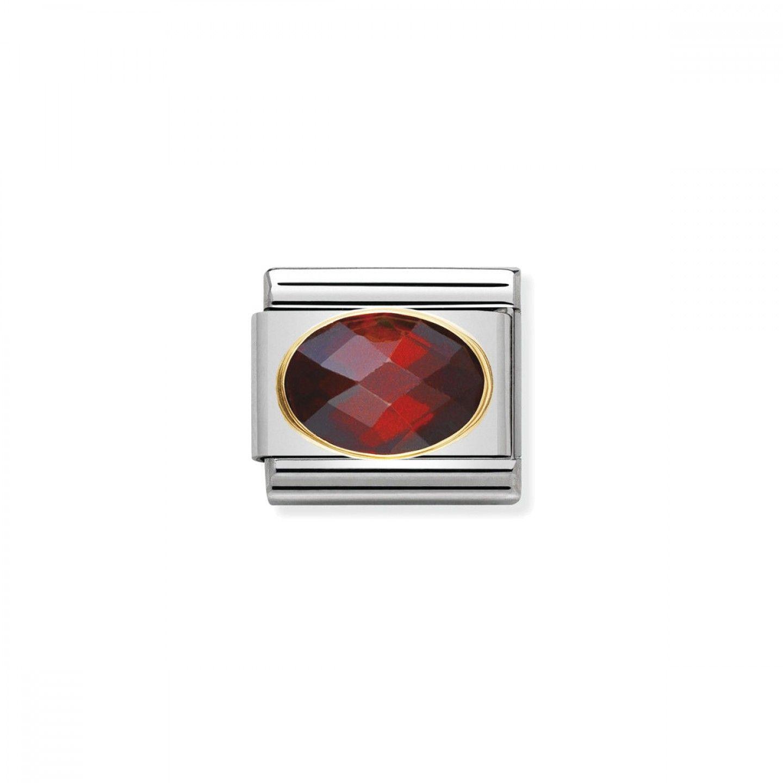 Charm Link NOMINATION, Ouro 18K, Pedra Zircónia vermelha