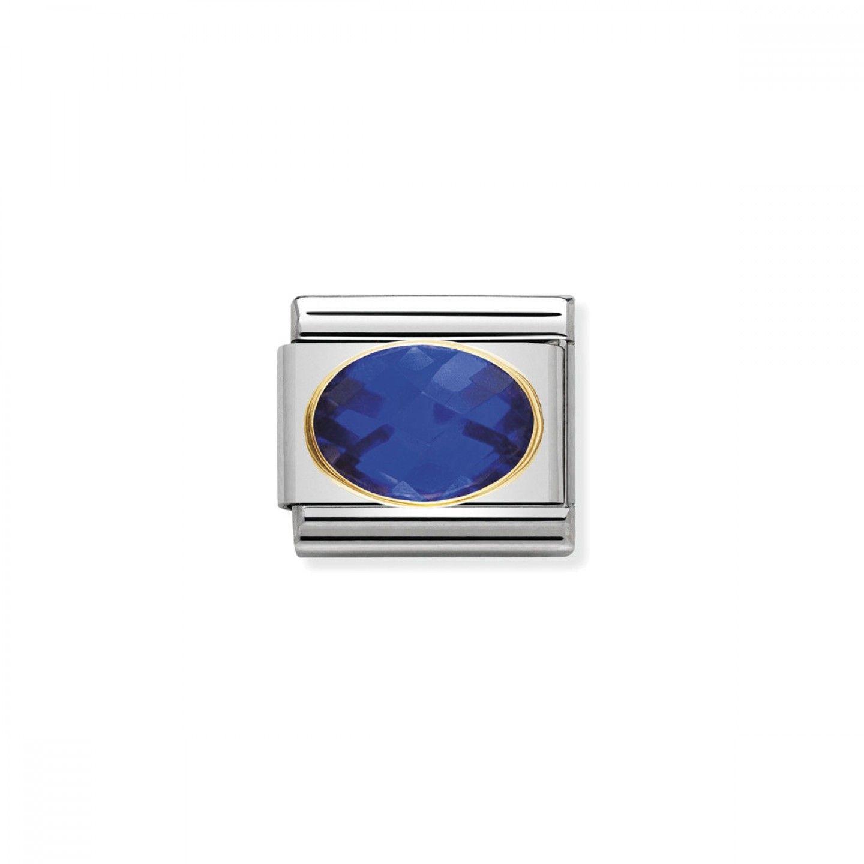 Charm Link NOMINATION, Ouro 18K, Pedra Zircónia azul