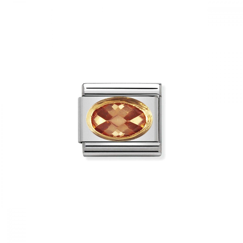 Charm Link NOMINATION, Ouro 18K, Pedra Zircónia champanhe
