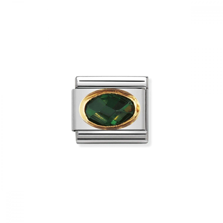 Charm Link NOMINATION, Ouro 18K, Zircónia verde esmeralda