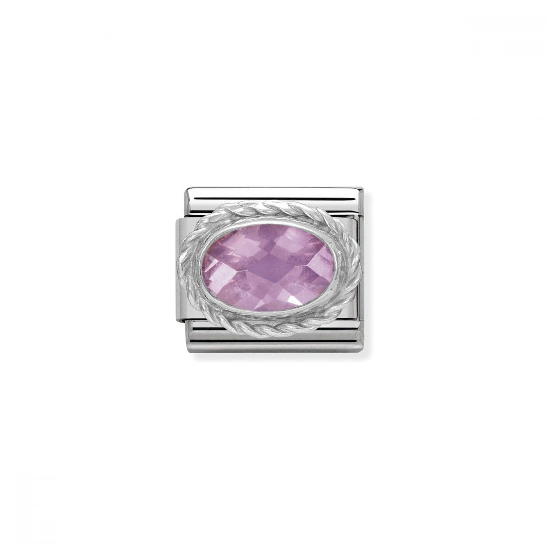 Charm Link NOMINATION, Prata 925, Pedra facetada rosa