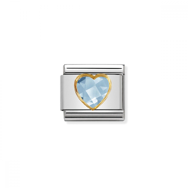 Charm Link NOMINATION, Ouro 18K, Pedra coração azul claro